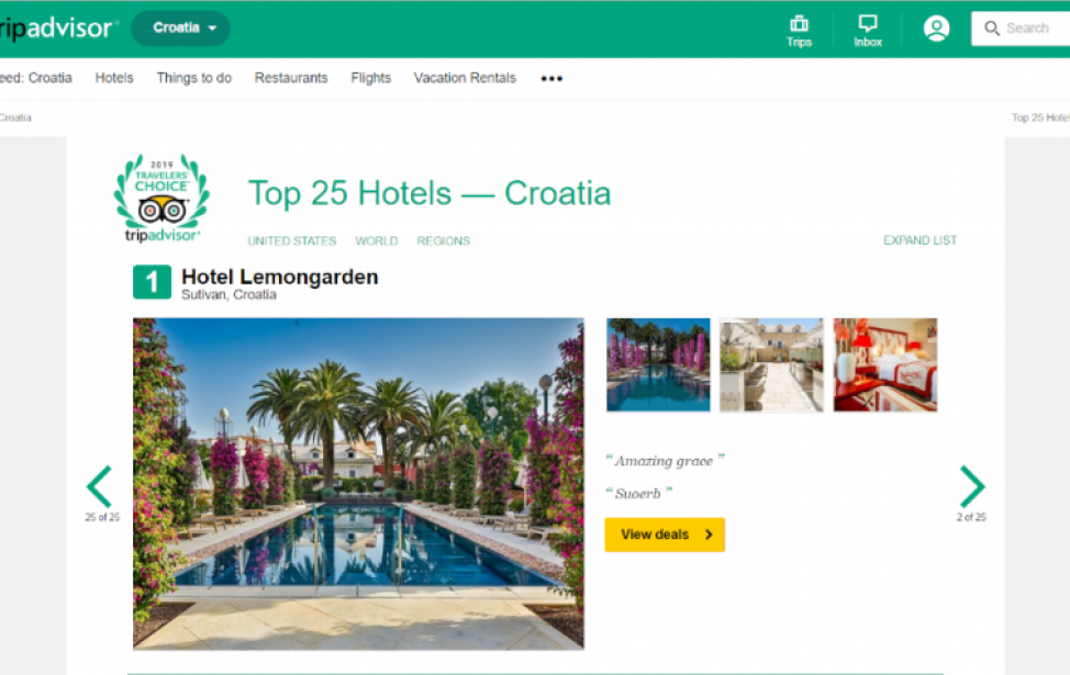 Hrvatski hoteli na TOP listama